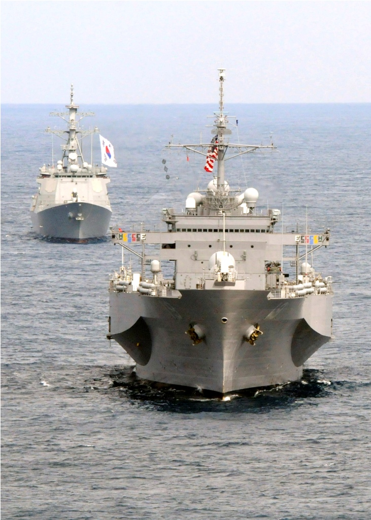 U.S. Seventh Fleet flagship Blue Ridge (LCC-19), command ship, the South Korean Navy Aegis destroyer King Sejong (DDG991), Li Gu Lee Joel (DDG992) Aegis destroyer, Admiral Yi (DDH975) destroyer (3)