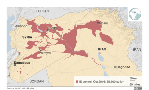 Figure 1 - ISIS held areas in Iraq and Syria as reported by IHS Janes in BBC.